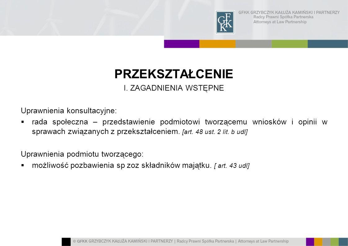 PRZEKSZTAŁCENIE I. ZAGADNIENIA WSTĘPNE Uprawnienia konsultacyjne: rada społeczna – przedstawienie podmiotowi tworzącemu wniosków i opinii w sprawach z