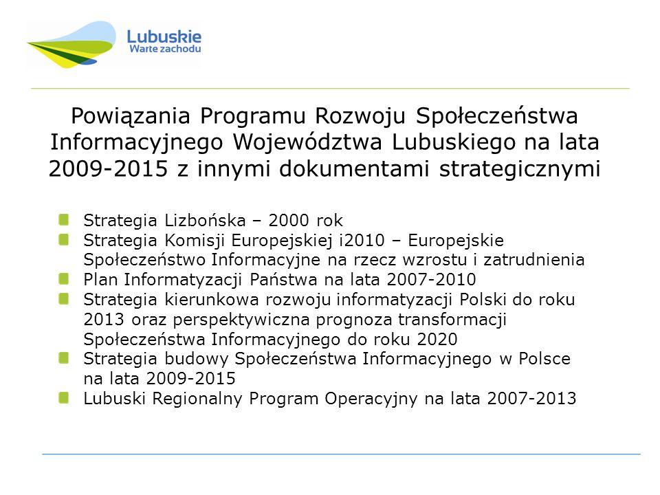 Powiązania Programu Rozwoju Społeczeństwa Informacyjnego Województwa Lubuskiego na lata 2009-2015 z innymi dokumentami strategicznymi Strategia Lizbońska – 2000 rok Strategia Komisji Europejskiej i2010 – Europejskie Społeczeństwo Informacyjne na rzecz wzrostu i zatrudnienia Plan Informatyzacji Państwa na lata 2007-2010 Strategia kierunkowa rozwoju informatyzacji Polski do roku 2013 oraz perspektywiczna prognoza transformacji Społeczeństwa Informacyjnego do roku 2020 Strategia budowy Społeczeństwa Informacyjnego w Polsce na lata 2009-2015 Lubuski Regionalny Program Operacyjny na lata 2007-2013