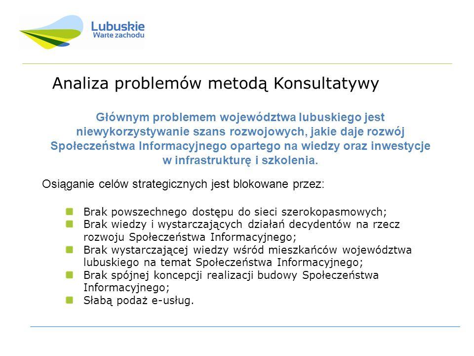 Analiza problemów metodą Konsultatywy Osiąganie celów strategicznych jest blokowane przez: Brak powszechnego dostępu do sieci szerokopasmowych; Brak wiedzy i wystarczających działań decydentów na rzecz rozwoju Społeczeństwa Informacyjnego; Brak wystarczającej wiedzy wśród mieszkańców województwa lubuskiego na temat Społeczeństwa Informacyjnego; Brak spójnej koncepcji realizacji budowy Społeczeństwa Informacyjnego; Słabą podaż e-usług.