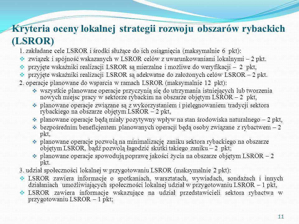Kryteria oceny lokalnej strategii rozwoju obszarów rybackich (LSROR) 1. zakładane cele LSROR i środki służące do ich osiągnięcia (maksymalnie 6 pkt):