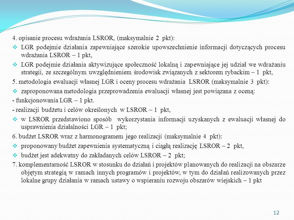 4. opisanie procesu wdrażania LSROR, (maksymalnie 2 pkt): LGR podejmie działania zapewniające szerokie upowszechnienie informacji dotyczących procesu