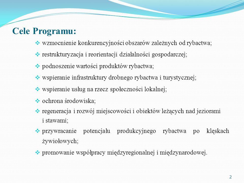 Cele Programu: wzmocnienie konkurencyjności obszarów zależnych od rybactwa; restrukturyzacja i reorientacji działalności gospodarczej; podnoszenie war
