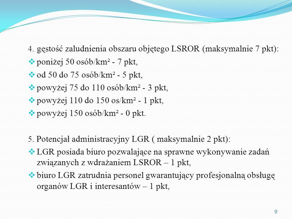 4. gęstość zaludnienia obszaru objętego LSROR (maksymalnie 7 pkt): poniżej 50 osób/km² - 7 pkt, od 50 do 75 osób/km² - 5 pkt, powyżej 75 do 110 osób/k