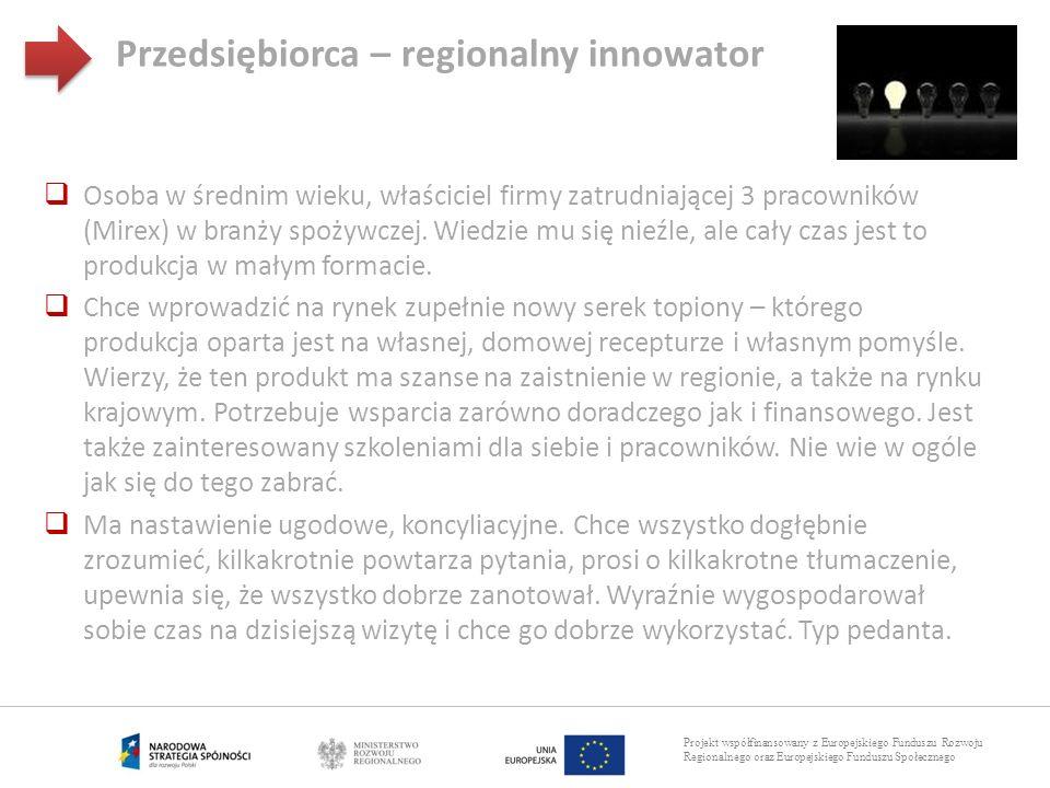 Projekt współfinansowany z Europejskiego Funduszu Rozwoju Regionalnego oraz Europejskiego Funduszu Społecznego Przedsiębiorca – regionalny innowator O