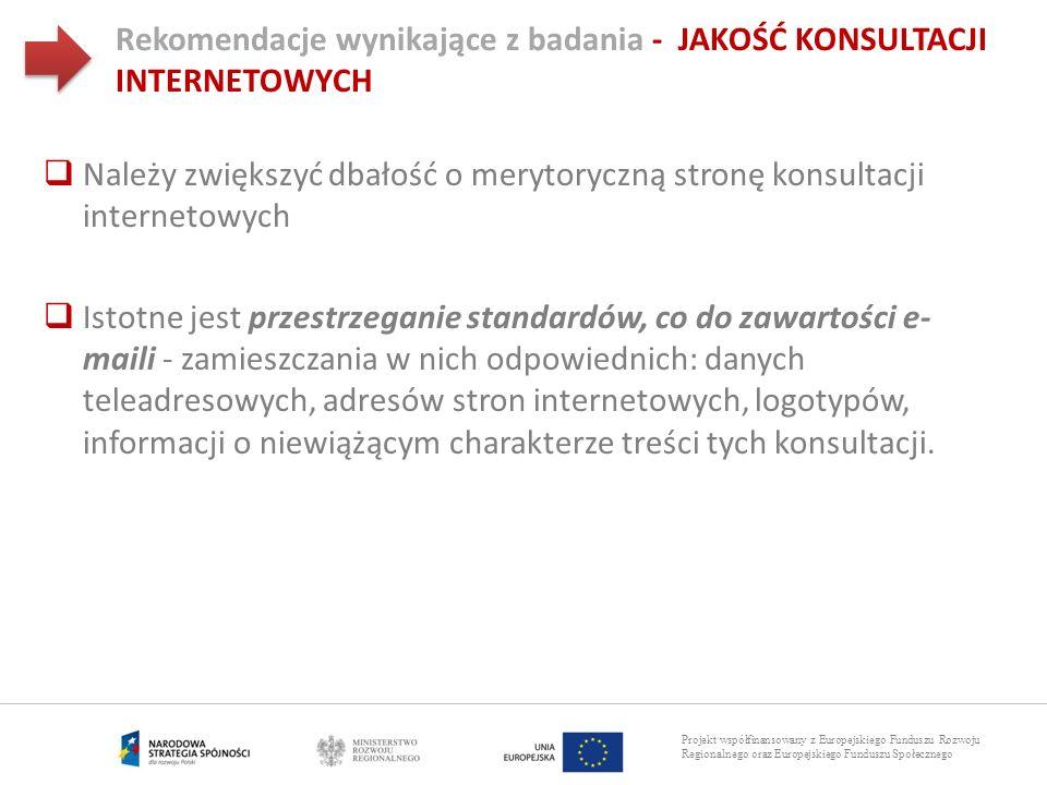 Projekt współfinansowany z Europejskiego Funduszu Rozwoju Regionalnego oraz Europejskiego Funduszu Społecznego Rekomendacje wynikające z badania - JAK