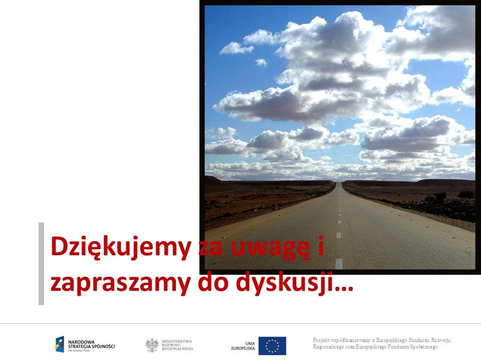 Projekt współfinansowany z Europejskiego Funduszu Rozwoju Regionalnego oraz Europejskiego Funduszu Społecznego Dziękujemy za uwagę i zapraszamy do dys