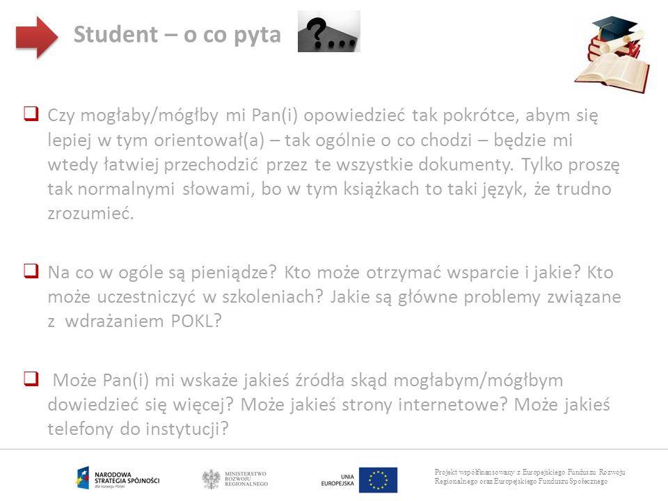 Projekt współfinansowany z Europejskiego Funduszu Rozwoju Regionalnego oraz Europejskiego Funduszu Społecznego Student – o co pyta Czy mogłaby/mógłby