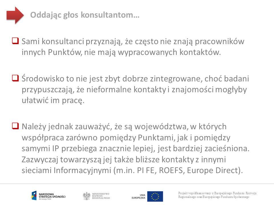 Projekt współfinansowany z Europejskiego Funduszu Rozwoju Regionalnego oraz Europejskiego Funduszu Społecznego Sami konsultanci przyznają, że często n