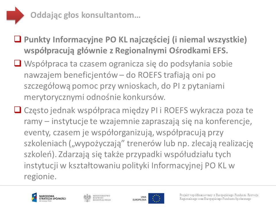 Projekt współfinansowany z Europejskiego Funduszu Rozwoju Regionalnego oraz Europejskiego Funduszu Społecznego Punkty Informacyjne PO KL najczęściej (
