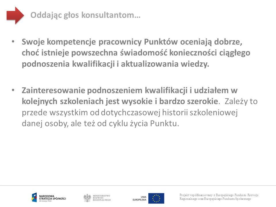 Projekt współfinansowany z Europejskiego Funduszu Rozwoju Regionalnego oraz Europejskiego Funduszu Społecznego Swoje kompetencje pracownicy Punktów oc