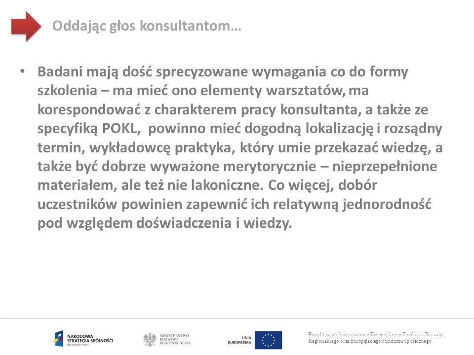 Projekt współfinansowany z Europejskiego Funduszu Rozwoju Regionalnego oraz Europejskiego Funduszu Społecznego Badani mają dość sprecyzowane wymagania
