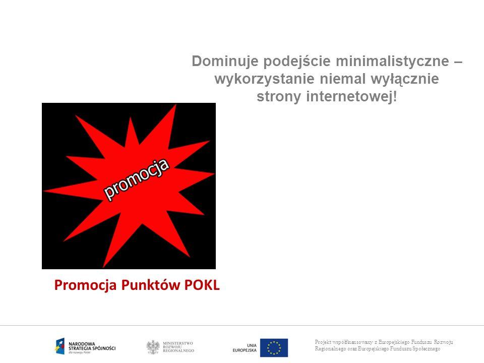 Projekt współfinansowany z Europejskiego Funduszu Rozwoju Regionalnego oraz Europejskiego Funduszu Społecznego Promocja Punktów POKL Dominuje podejści