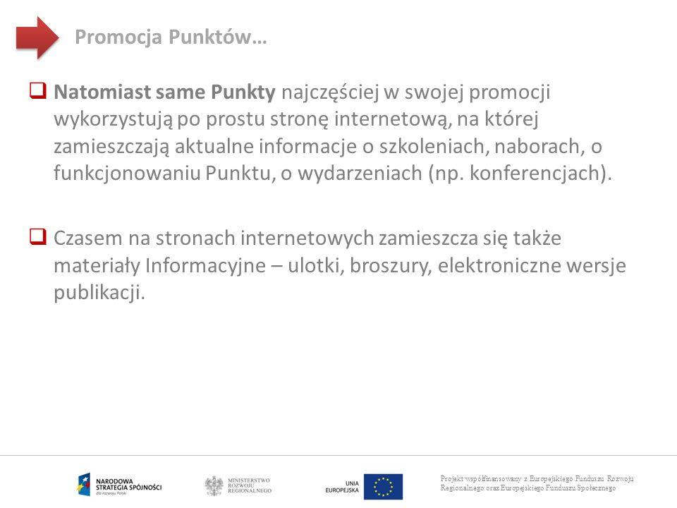 Projekt współfinansowany z Europejskiego Funduszu Rozwoju Regionalnego oraz Europejskiego Funduszu Społecznego Promocja Punktów… Natomiast same Punkty