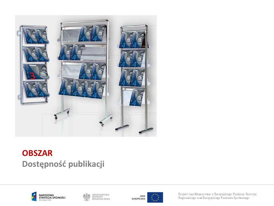 Projekt współfinansowany z Europejskiego Funduszu Rozwoju Regionalnego oraz Europejskiego Funduszu Społecznego OBSZAR Dostępność publikacji