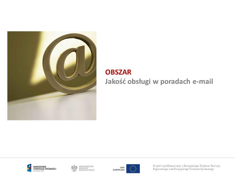 Projekt współfinansowany z Europejskiego Funduszu Rozwoju Regionalnego oraz Europejskiego Funduszu Społecznego OBSZAR Jakość obsługi w poradach e-mail