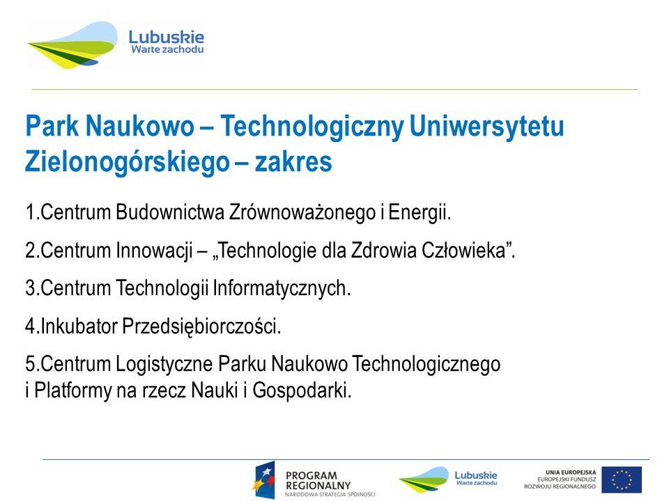 Park Naukowo – Technologiczny Uniwersytetu Zielonogórskiego – zakres 1.Centrum Budownictwa Zrównoważonego i Energii. 2.Centrum Innowacji – Technologie