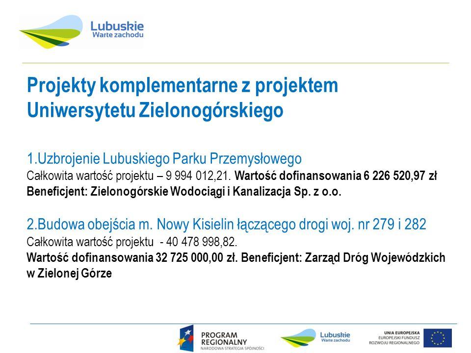 Projekty komplementarne z projektem Uniwersytetu Zielonogórskiego 1.Uzbrojenie Lubuskiego Parku Przemysłowego Całkowita wartość projektu – 9 994 012,21.