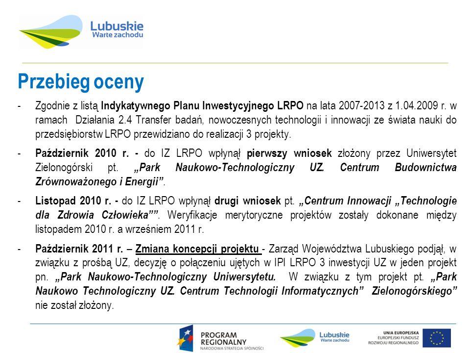 Przebieg oceny -Zgodnie z listą Indykatywnego Planu Inwestycyjnego LRPO na lata 2007-2013 z 1.04.2009 r. w ramach Działania 2.4 Transfer badań, nowocz
