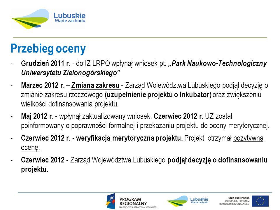 Przebieg oceny - Grudzień 2011 r. - do IZ LRPO wpłynął wniosek pt. Park Naukowo-Technologiczny Uniwersytetu Zielonogórskiego. - Marzec 2012 r. – Zmian