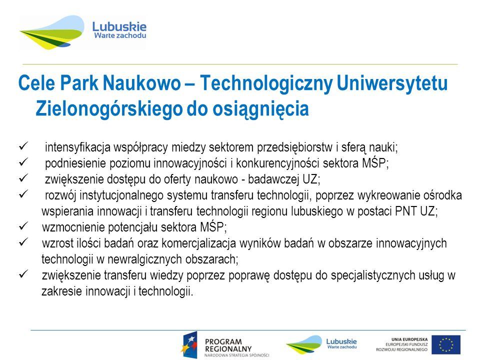 Cele Park Naukowo – Technologiczny Uniwersytetu Zielonogórskiego do osiągnięcia intensyfikacja współpracy miedzy sektorem przedsiębiorstw i sferą nauki; podniesienie poziomu innowacyjności i konkurencyjności sektora MŚP; zwiększenie dostępu do oferty naukowo - badawczej UZ; rozwój instytucjonalnego systemu transferu technologii, poprzez wykreowanie ośrodka wspierania innowacji i transferu technologii regionu lubuskiego w postaci PNT UZ; wzmocnienie potencjału sektora MŚP; wzrost ilości badań oraz komercjalizacja wyników badań w obszarze innowacyjnych technologii w newralgicznych obszarach; zwiększenie transferu wiedzy poprzez poprawę dostępu do specjalistycznych usług w zakresie innowacji i technologii.