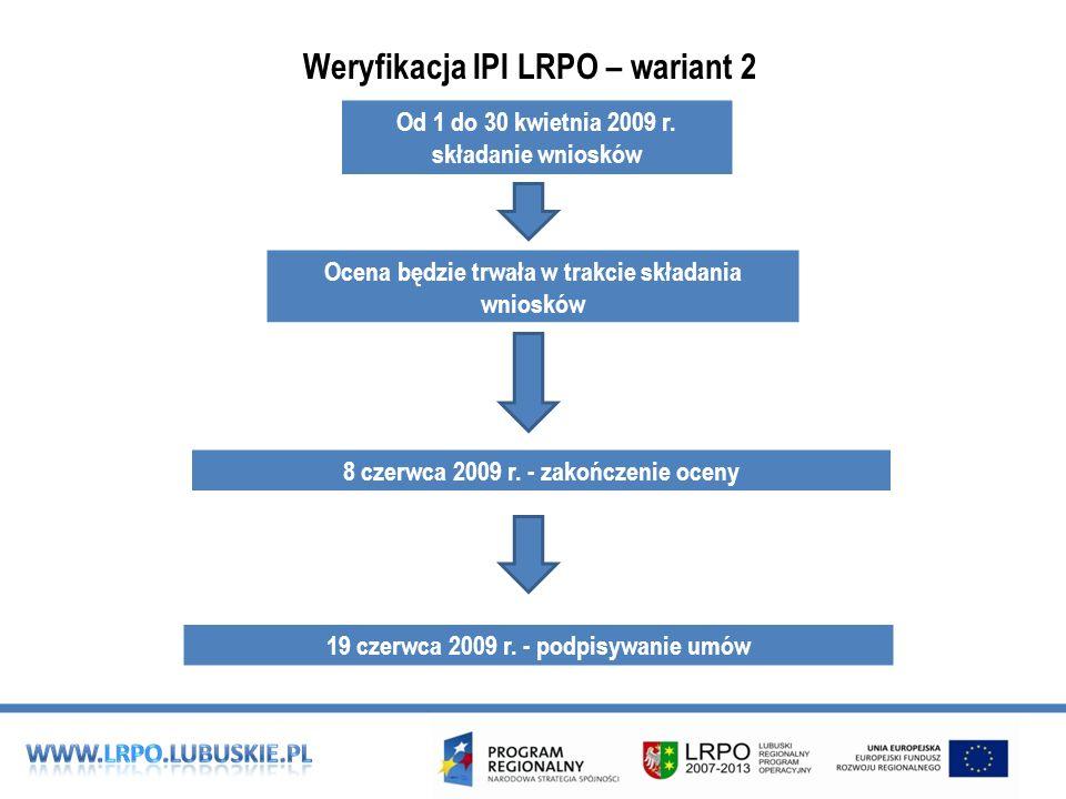 Weryfikacja IPI LRPO – wariant 2 Ocena będzie trwała w trakcie składania wniosków Od 1 do 30 kwietnia 2009 r.