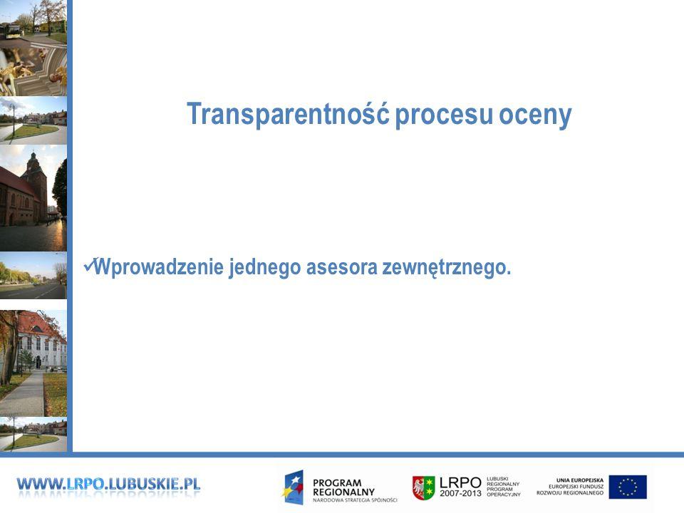 Transparentność procesu oceny Wprowadzenie jednego asesora zewnętrznego.