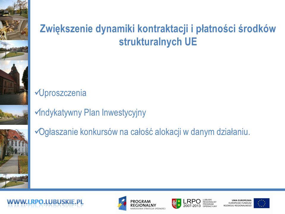 Zwiększenie dynamiki kontraktacji i płatności środków strukturalnych UE Uproszczenia Indykatywny Plan Inwestycyjny Ogłaszanie konkursów na całość alokacji w danym działaniu.