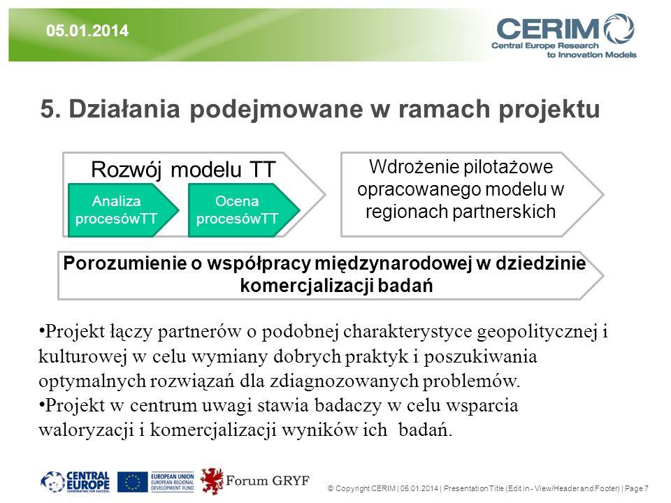 5. Działania podejmowane w ramach projektu © Copyright CERIM | 05.01.2014 | Presentation Title (Edit in - View/Header and Footer) | Page 7 05.01.2014