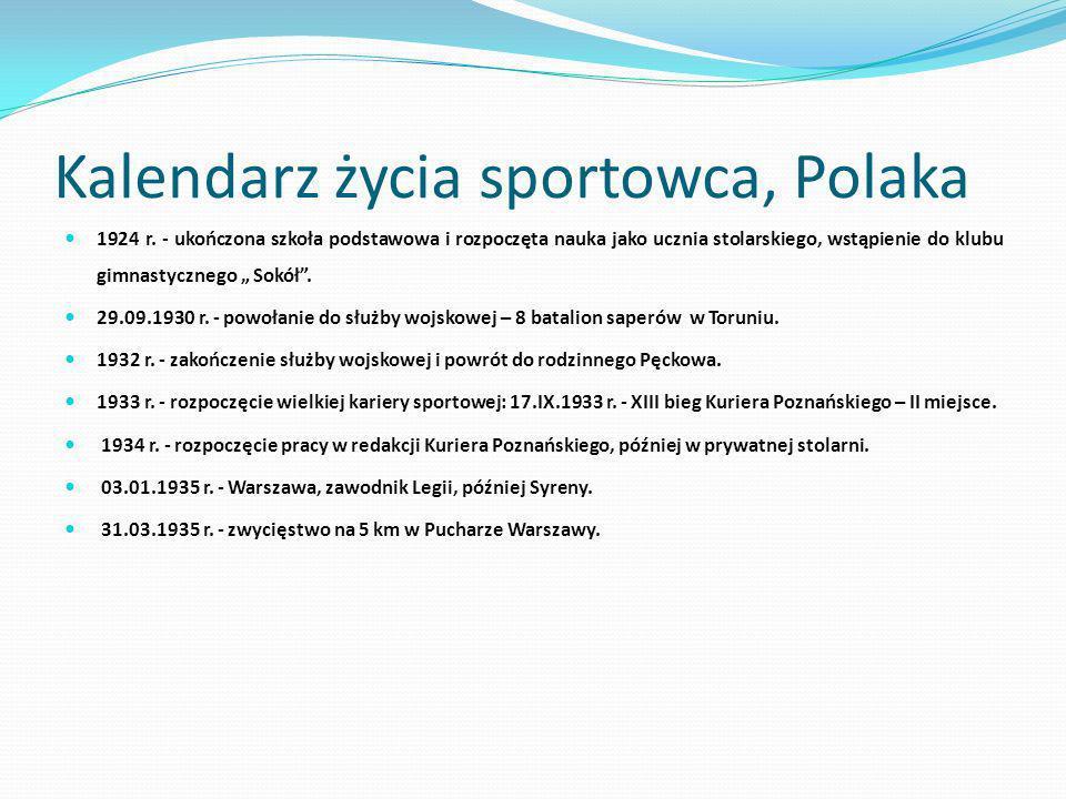 Kalendarz życia sportowca, Polaka 1924 r. - ukończona szkoła podstawowa i rozpoczęta nauka jako ucznia stolarskiego, wstąpienie do klubu gimnastyczneg