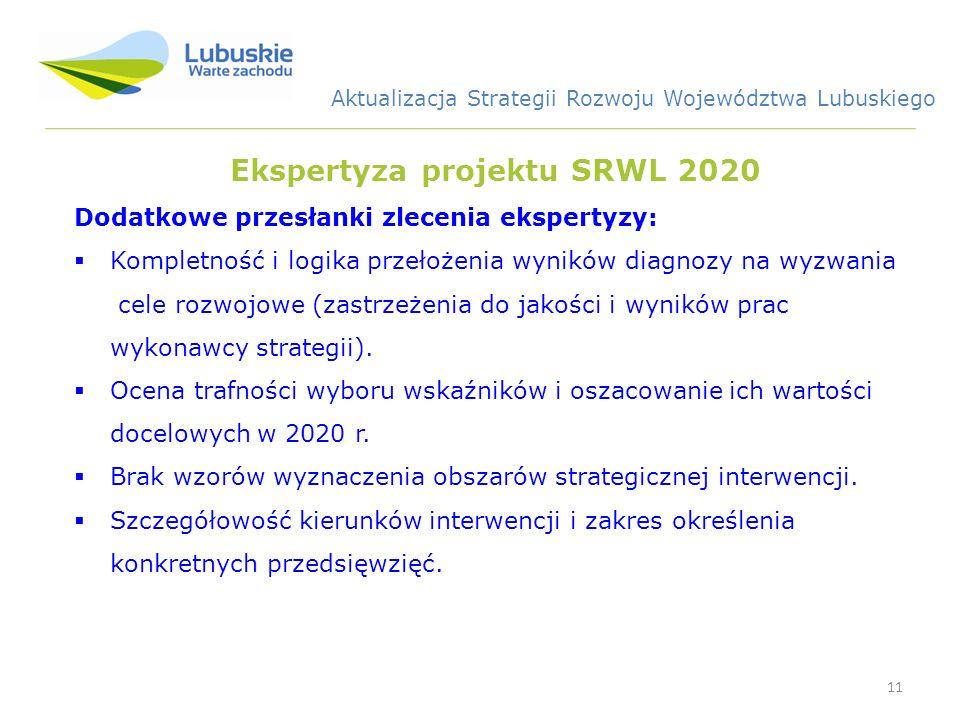 11 Ekspertyza projektu SRWL 2020 Dodatkowe przesłanki zlecenia ekspertyzy: Kompletność i logika przełożenia wyników diagnozy na wyzwania cele rozwojowe (zastrzeżenia do jakości i wyników prac wykonawcy strategii).
