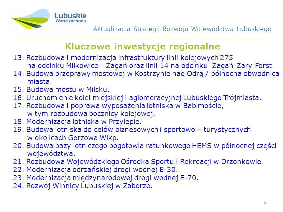 5 Kluczowe inwestycje regionalne 13. Rozbudowa i modernizacja infrastruktury linii kolejowych 275 na odcinku Miłkowice - Żagań oraz linii 14 na odcink