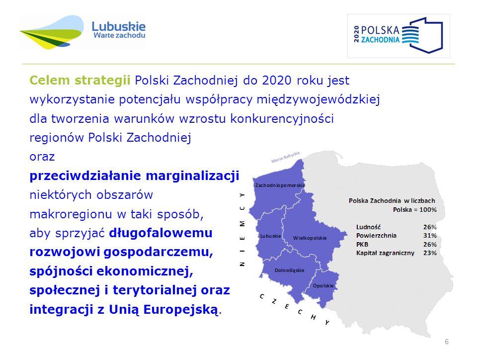 6 Celem strategii Polski Zachodniej do 2020 roku jest wykorzystanie potencjału współpracy międzywojewódzkiej dla tworzenia warunków wzrostu konkurency