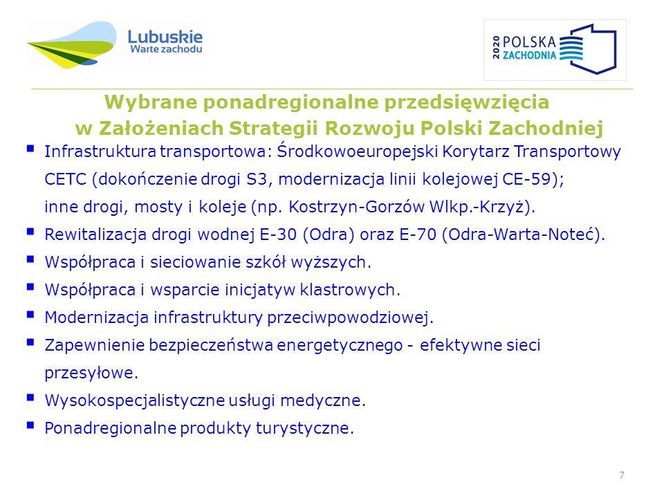 7 Wybrane ponadregionalne przedsięwzięcia w Założeniach Strategii Rozwoju Polski Zachodniej Infrastruktura transportowa: Środkowoeuropejski Korytarz T