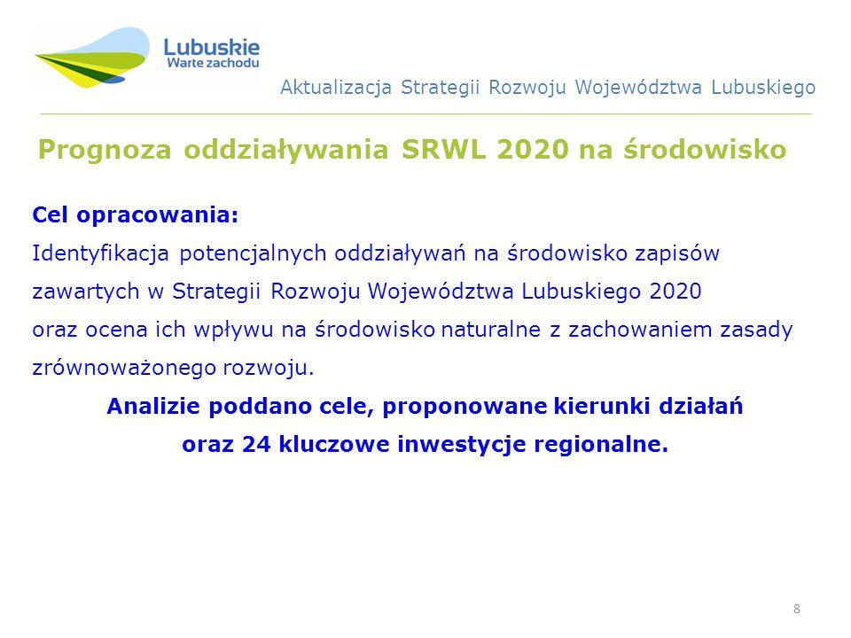 8 Prognoza oddziaływania SRWL 2020 na środowisko Cel opracowania: Identyfikacja potencjalnych oddziaływań na środowisko zapisów zawartych w Strategii Rozwoju Województwa Lubuskiego 2020 oraz ocena ich wpływu na środowisko naturalne z zachowaniem zasady zrównoważonego rozwoju.