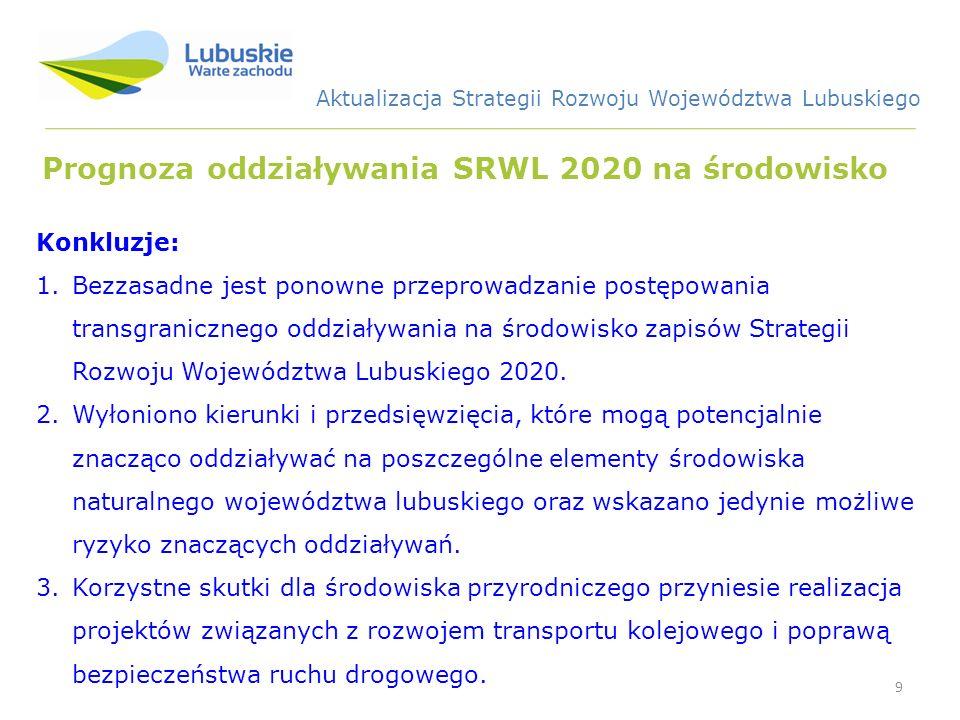 9 Prognoza oddziaływania SRWL 2020 na środowisko Konkluzje: 1.Bezzasadne jest ponowne przeprowadzanie postępowania transgranicznego oddziaływania na środowisko zapisów Strategii Rozwoju Województwa Lubuskiego 2020.