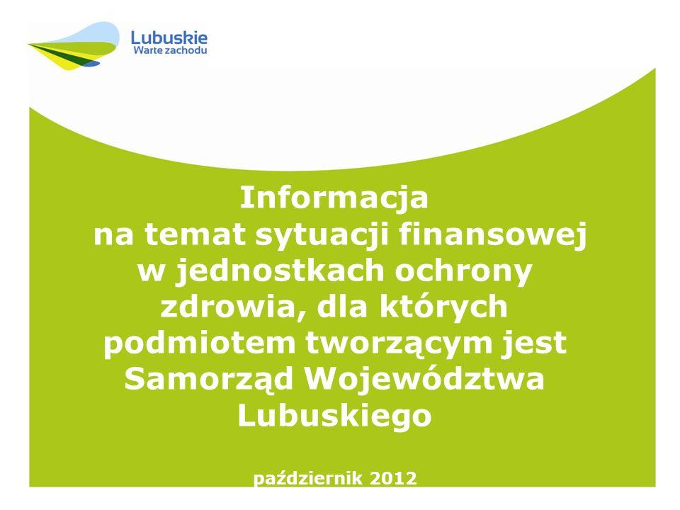 Informacja na temat sytuacji finansowej w jednostkach ochrony zdrowia, dla których podmiotem tworzącym jest Samorząd Województwa Lubuskiego październi