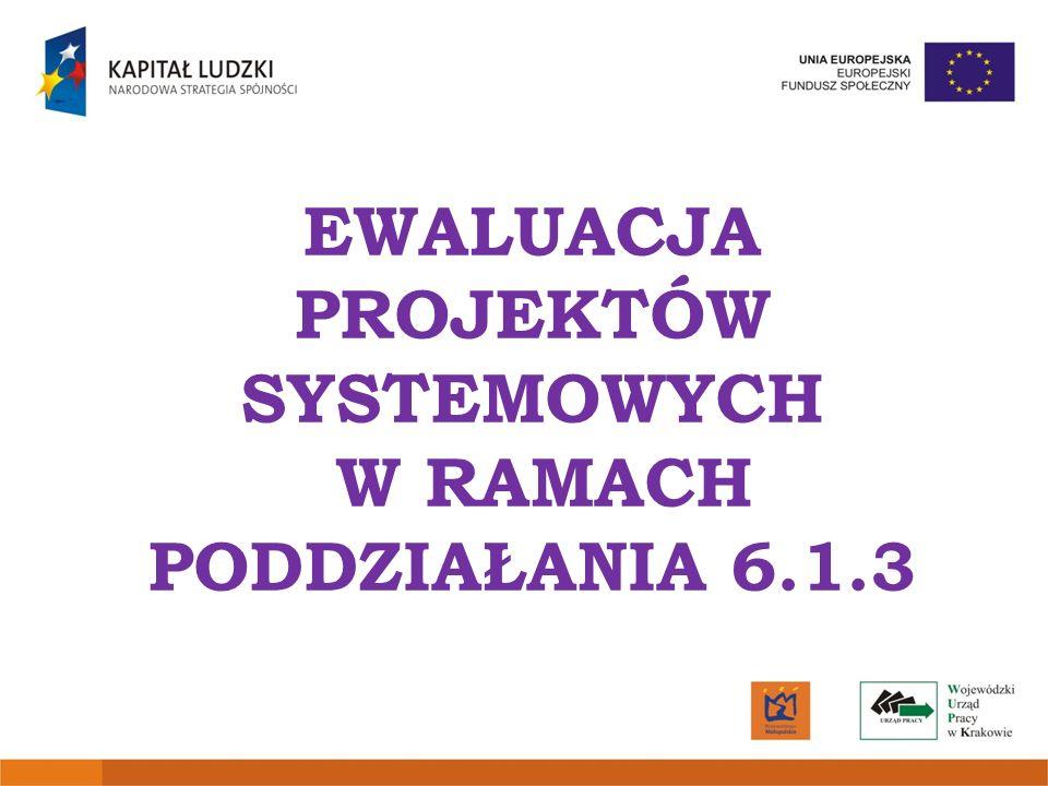 Obowiązek przeprowadzenia badań ewaluacyjnych w ramach Poddziałania 6.1.3 wynika z zapisów dokumentu Projekty Systemowe Powiatowych Urzędów Pracy w ramach PO KL stanowiącego część Systemu Realizacji PO KL.