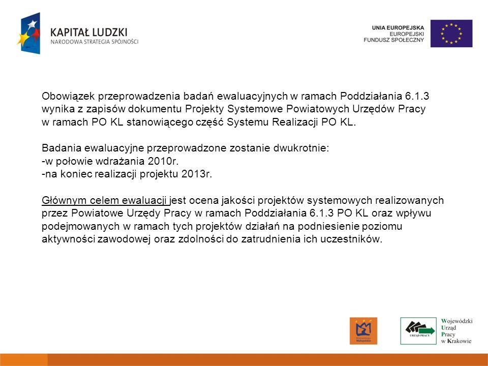 Zasady przeprowadzenia ewaluacji w tym: -minimum metodologiczne, -pytania badawcze, -kwestionariusze, ankiety, -kwestie organizacyjne reguluje dokument: Założenia do ewaluacji projektów systemowych Powiatowych Urzędów Pracy realizowanych w ramach Poddziałania 6.1.3 PO KL Dodatkowo został opracowany zestaw pytań i odpowiedzi w zakresie realizowania zadania ewaluacja: Ewaluacja w ramach Poddziałania 6.1.3 POKL - FAQ