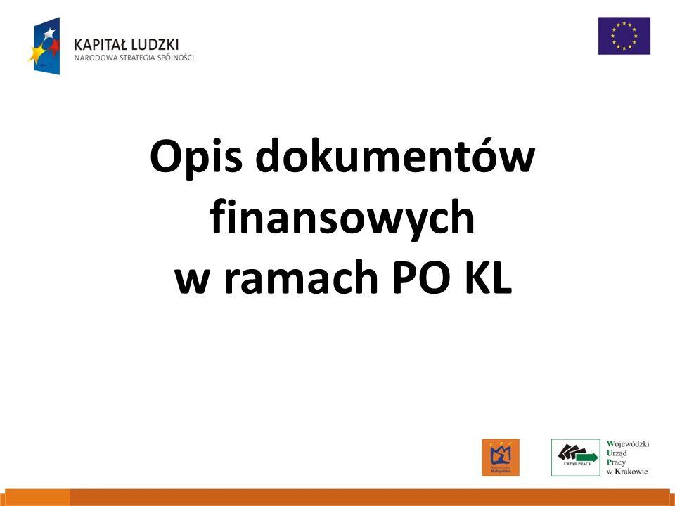 Opis dokumentów finansowych w ramach PO KL