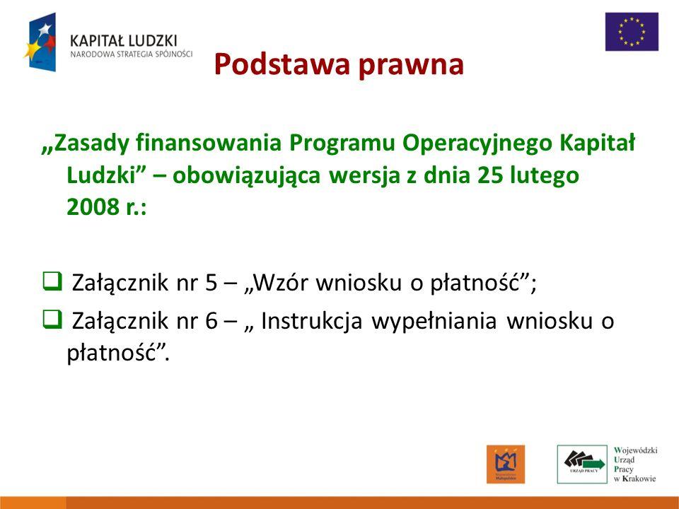 Podstawa prawna Zasady finansowania Programu Operacyjnego Kapitał Ludzki – obowiązująca wersja z dnia 25 lutego 2008 r.: Załącznik nr 5 – Wzór wniosku