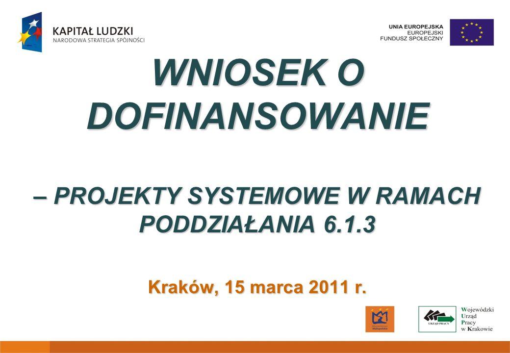 WNIOSEK O DOFINANSOWANIE – PROJEKTY SYSTEMOWE W RAMACH PODDZIAŁANIA 6.1.3 Kraków, 15 marca 2011 r.