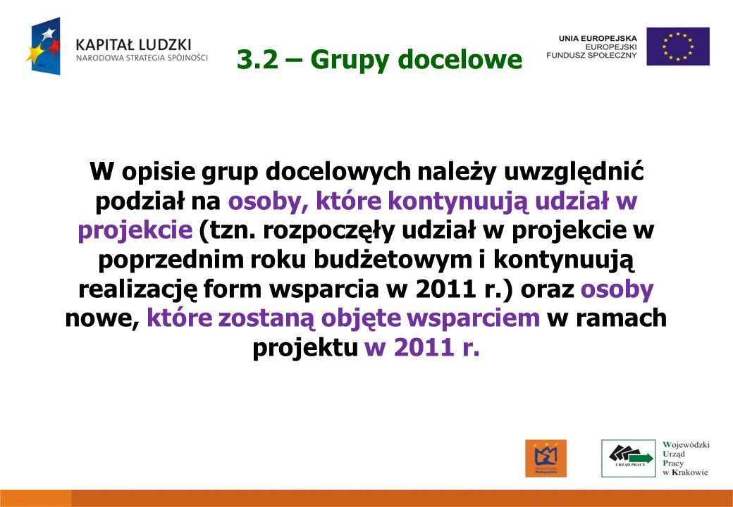 3.2 – Grupy docelowe W opisie grup docelowych należy uwzględnić podział na osoby, które kontynuują udział w projekcie (tzn. rozpoczęły udział w projek