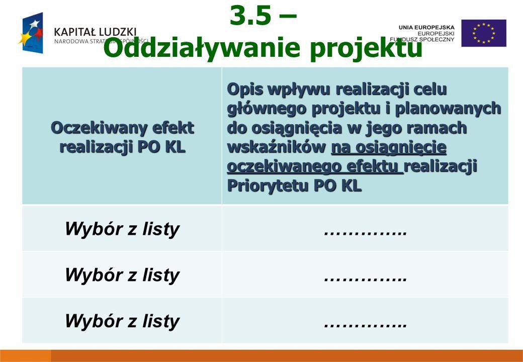 3.5 – Oddziaływanie projektu Oczekiwany efekt realizacji PO KL Opis wpływu realizacji celu głównego projektu i planowanych do osiągnięcia w jego ramac