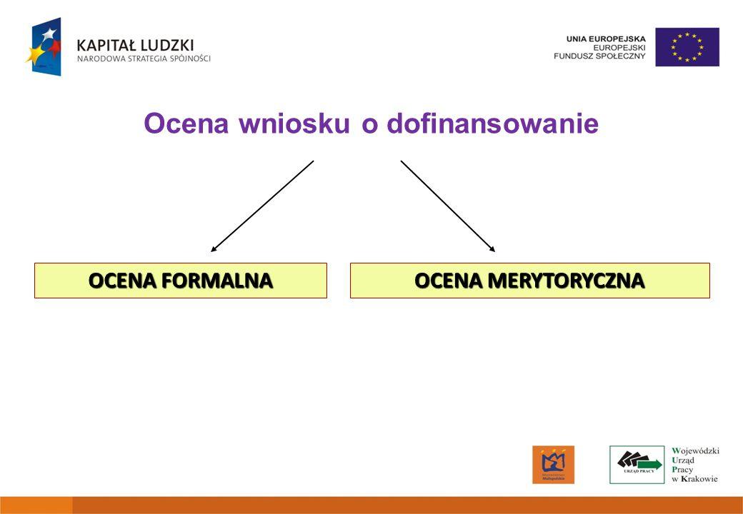 Ocena wniosku o dofinansowanie OCENA FORMALNA OCENA MERYTORYCZNA