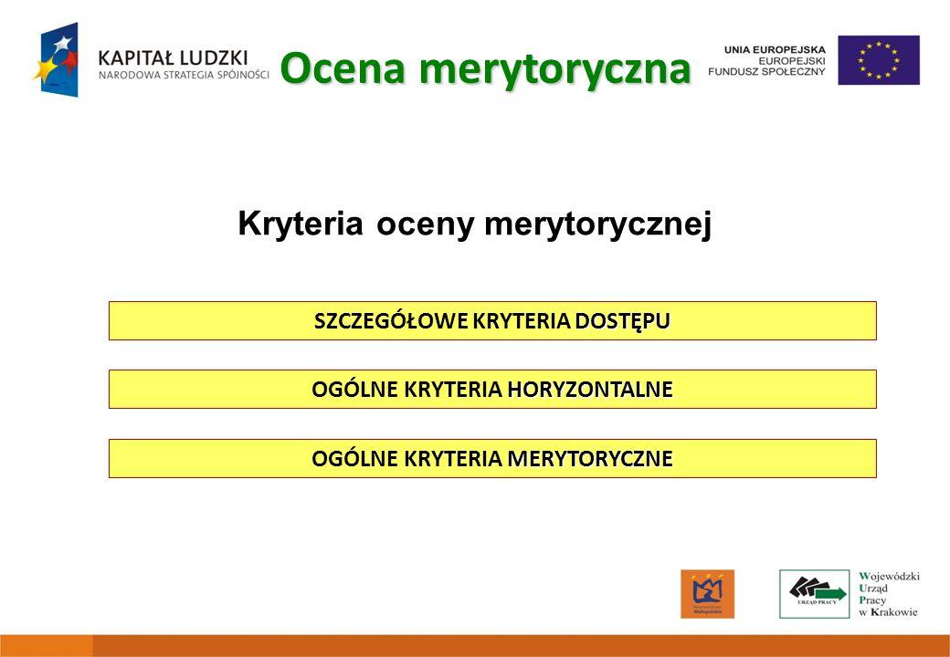 Kryteria oceny merytorycznej DOSTĘPU SZCZEGÓŁOWE KRYTERIA DOSTĘPU Ocena merytoryczna HORYZONTALNE OGÓLNE KRYTERIA HORYZONTALNE MERYTORYCZNE OGÓLNE KRY