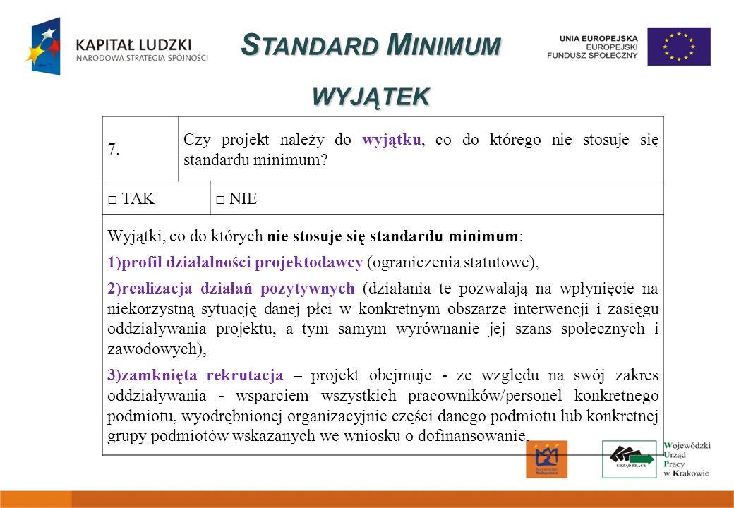 S TANDARD M INIMUM WYJĄTEK 7. Czy projekt należy do wyjątku, co do którego nie stosuje się standardu minimum? TAK NIE Wyjątki, co do których nie stosu