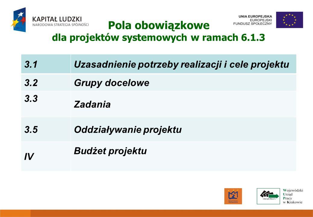 Pola obowiązkowe dla projektów systemowych w ramach 6.1.3 3.1Uzasadnienie potrzeby realizacji i cele projektu 3.2Grupy docelowe 3.3 Zadania 3.5Oddział