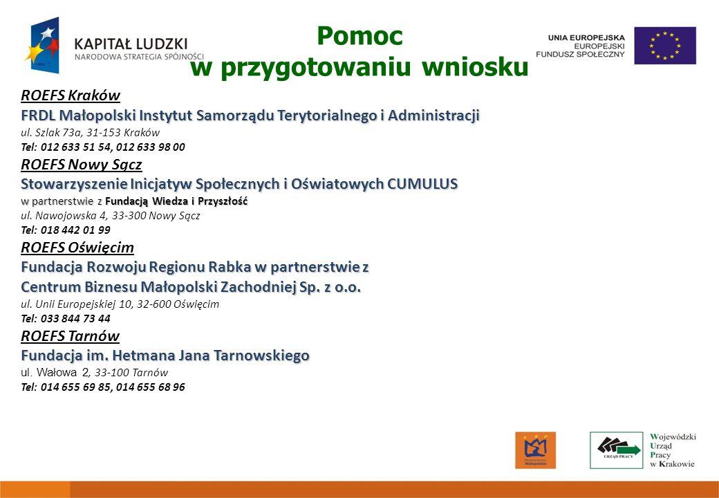 ROEFS Kraków FRDL Małopolski Instytut Samorządu Terytorialnego i Administracji ul. Szlak 73a, 31-153 Kraków Tel: 012 633 51 54, 012 633 98 00 ROEFS No
