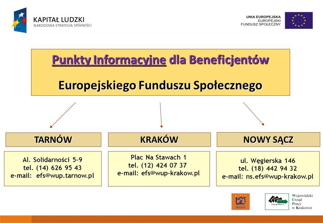 Punkty Informacyjne dla Beneficjentów Europejskiego Funduszu Społecznego Plac Na Stawach 1 tel. (12) 424 07 37 e-mail: efs@wup-krakow.pl Al. Solidarno