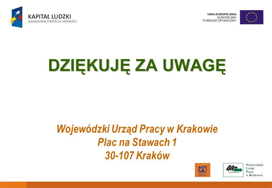 DZIĘKUJĘ ZA UWAGĘ DZIĘKUJĘ ZA UWAGĘ Wojewódzki Urząd Pracy w Krakowie Plac na Stawach 1 30-107 Kraków